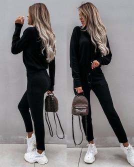 Γυναικείο σετ μπλούζα και παντελόνι 3657 μαύρο