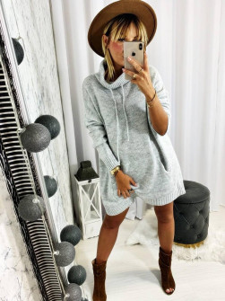Γυναικείο μπλουζοφόρεμα ζιβάγκο 8397 γκρι