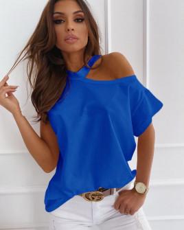 Γυναικεία μπλούζα με έναν ώμο έξω 5030 μπλε
