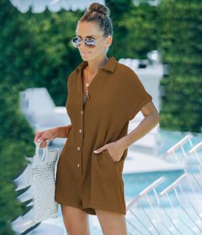 Γυναικεία κοντή ολόσωμη φόρμα 21275 καμηλό