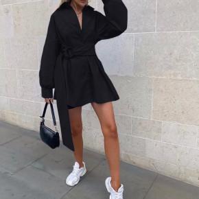 Γυναικεία πουκαμίσα με ζώνη 5023 μαύρη