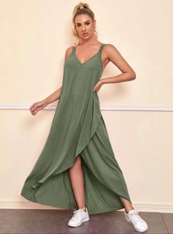 Дамска асиметрична рокля 5182 тъмно зелена