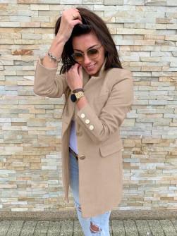 Γυναικείο σακάκι με χρυσά κουμπιά 5016 καπουτσίνο