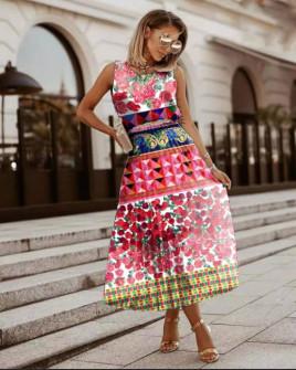 Γυναικείο φόρεμα σολέιγ με print 5552004