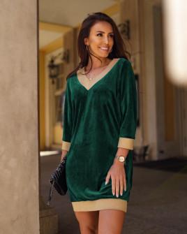 Γυναικείο βελουτέ μπλουζοφόρεμα 3297 πράσινο