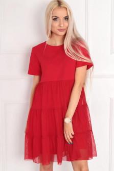 Γυναικείο φόρεμα με τούλι  στο κάτω μέρος 5060 κόκκινο
