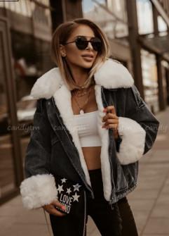 Γυναικείο τζιν μπουφάν με γούνα 4092 μαύρο