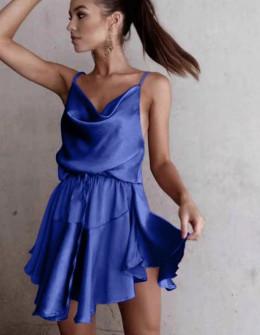 Γυναικείο φόρεμα σατέν 2455 μπλε