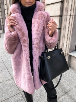 Γυναικείο χνουδωτό παλτό 21131 ροζ