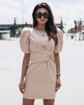 Γυναικείο φόρεμα με φουσκωτό μανίκι 21925 μπεζ