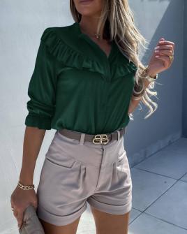 Γυναικείο εντυπωσιακό πουκάμισο 5898 χακί