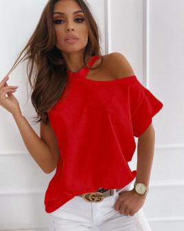 Γυναικεία μπλούζα με έναν ώμο έξω 5030 κόκκινη