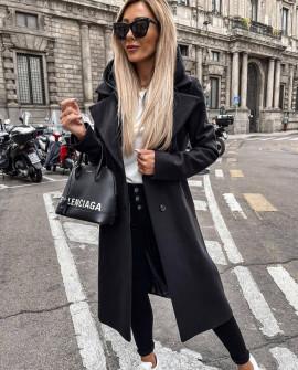 Γυναικείο μακρύ παλτό με φερμουάρ εσωτερικό και φόδρα 6072 μαύρο