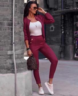 Γυναικείο σετ βελουτέ μπουφάν και παντελόνι 3734 μπορντό