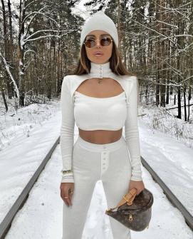 Γυναικείο 3 τμχ. - κολάν, μπλούζα και σκουφί 2404 άσπρο