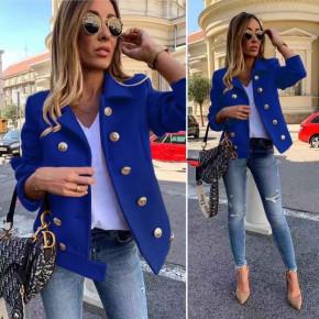 Γυναικείο παλτό με κουμπιά από τις 2 πλευρές 19734 μπλε
