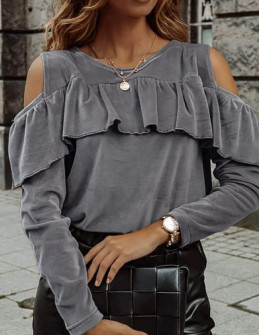 Γυναικεία μπλούζα βελουτέ 5385 γκρι