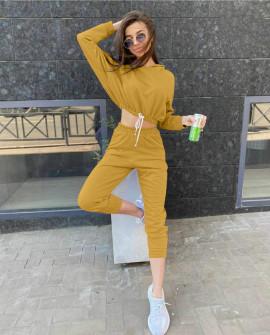 Γυναικείο σετ φούτερ και φόρμα 1051 κίτρινο