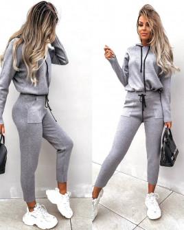 Γυναικείο σετ μπλούζα και παντελόνι 3657 γκρι