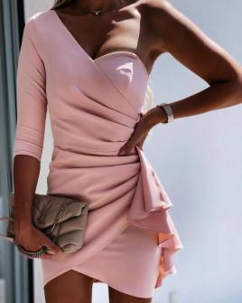 Γυναικείο φόρεμα με ένα μανίκι 3730 ροζ
