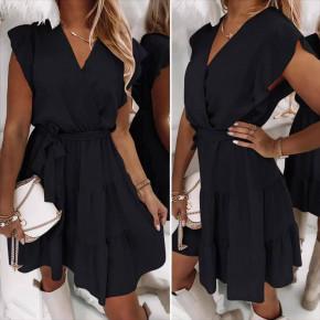 Γυναικείο φόρεμα κρουαζέ 5708 μαύρο