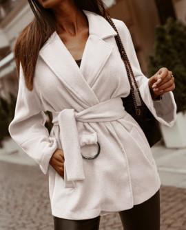 Γυναικείο παλτό από μαλακό ύφασμα με φόδρα 5363 άσπρο