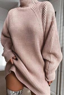 Χαλαρό πλεκτό μπλουζοφόρεμα 00806 πούδρα