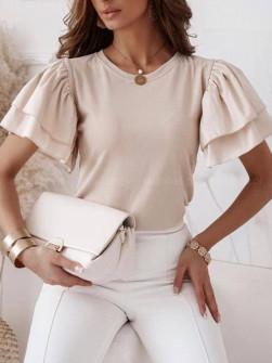 Γυναικεία μπλούζα με φουσκωτό μανίκι 77730 μπεζ