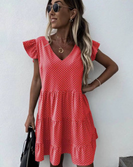 Γυναικείο φόρεμα πουά 5722 κόκκινο