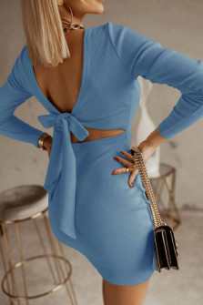 Γυναικείο φόρεμα με εντυπωσιακή πλάτη 5562 γαλάζιο