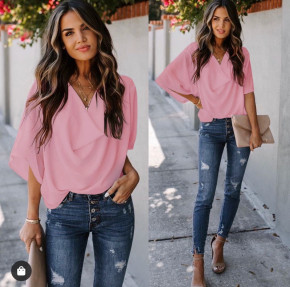 Γυναικεία μπλούζα με χαλαρό ντεκολτέ 50811 ροζ