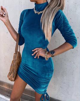 Γυναικείο μοντέρνο βελουτέ φόρεμα 6019 τυρκουάζ