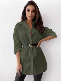 Γυναικείο πουκάμισο με ζώνη 5481 σκούρο πράσινο