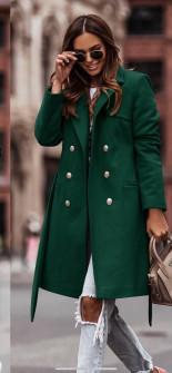 Γυναικείο διπλοκούμπωτο παλτό με φόδρα 6052 πράσινο