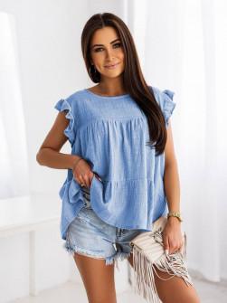 Γυναικεία χαλαρή μπλούζα 9478 γαλάζια