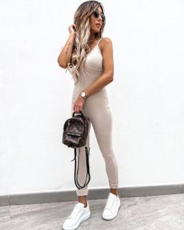 Γυναικεία ελαστική ολόσωμη φόρμα 3067 μπεζ
