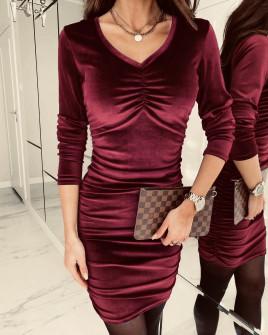 Γυναικείο εφαρμοστό φόρεμα 3434 μπορντό