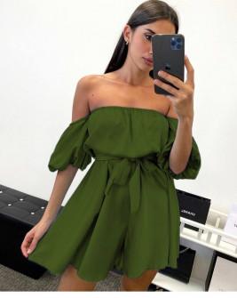 Γυναικείο έξωμο φόρεμα 44587 χακί
