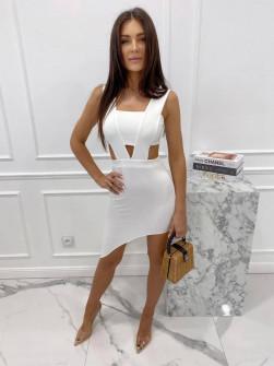 Γυναικείο εφαρμοστό φόρεμα 3670 άσπρο