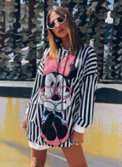 Γυναικείο μπλουζοφόρεμα με στάμπα  359702
