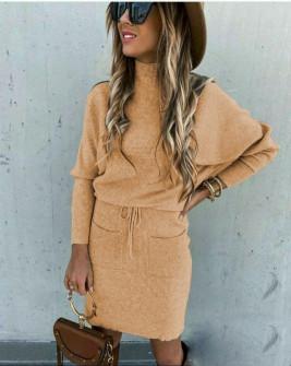 Γυναικείο σετ φούστα και μπλούζα 26891 καμηλό