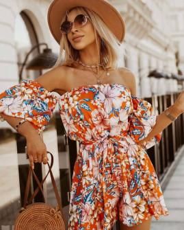 Γυναικεία έξωμη ολόσωμη φόρμα 45871 πορτοκαλί