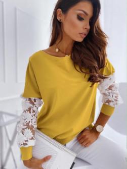 Γυναικεία μπλούζα με δαντέλα 19636 κίτρινη