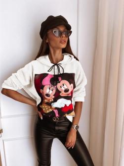 Γυναικεία χνουδωτή μπλούζα με στάμπα 13786 άσπρη