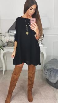 Γυναικείο πλεκτό μπλουζοφόρεμα 8052 μαύρο