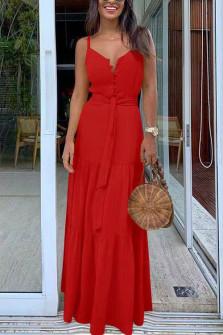 Γυναικείο μακρύ φόρεμα με κουμπιά και ζώνη 5215 κόκκινο