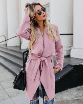 Γυναικείο παλτό με μάκρος κάτω από το γόνατο 5291 ροζ