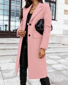 Γυναικείο κομψό παλτό 8680 ροζ