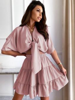 Γυναικείο σετ πουκάμισο και φούστα 14824 πούδρα