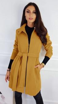 Γυναικείο παλτό με φερμουάρ και ζώνη 3829 κίτρινο